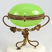 Antique French Opaline Glass Egg Casket, Alabaster Plinth & Ormolu, Napoleon III Era