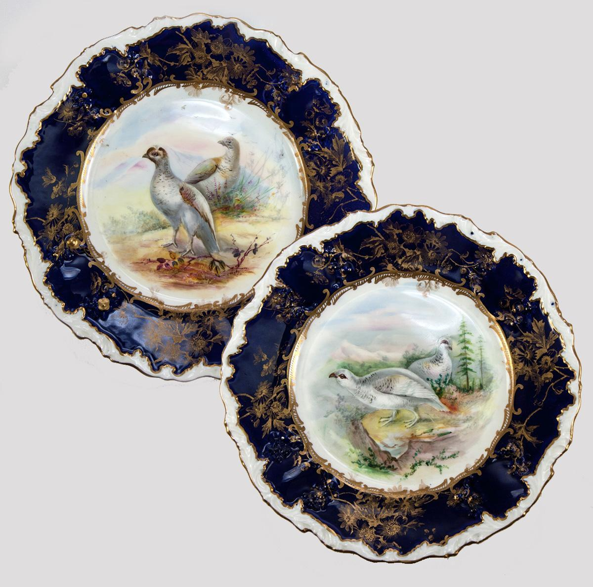 Pair (2) Antique c1860s Minton Hand Painted Game Plates, Raised Gold Enamel & Cobalt
