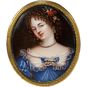RARE Antique Kiln-fired Enamel Portrait Miniature, French Masterpiece, Beautiful Young Woman