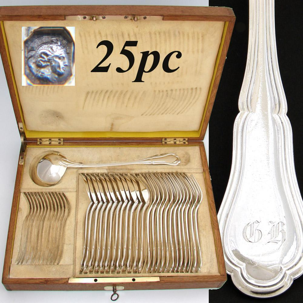 Fine Antique French Sterling Silver Dinner Service, 12 Persons for Main Course, Plus Soup Ladle, in Oak Chest - E. Quielle
