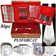 Antique French PUIFORCAT Sterling Silver Flatware Set, 84pc Gothic Service for 12, In Chest, c.1880s