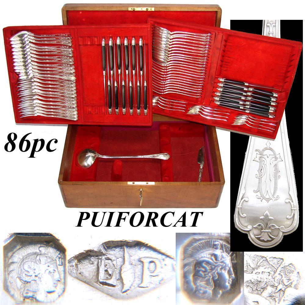 Antique French PUIFORCAT Sterling Silver Flatware Set, 86pc Gothic Service for 12, In Chest, c.1880s