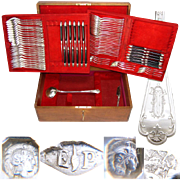 Antique French PUIFORCAT Sterling Silver Flatware Set, 61 Pc Gothic Service for 12, In Chest, c.1880s