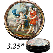Antique French Snuff Box, Portrait Miniature Mount in 18k Gold, c.1780-1830. Children & Lamb
