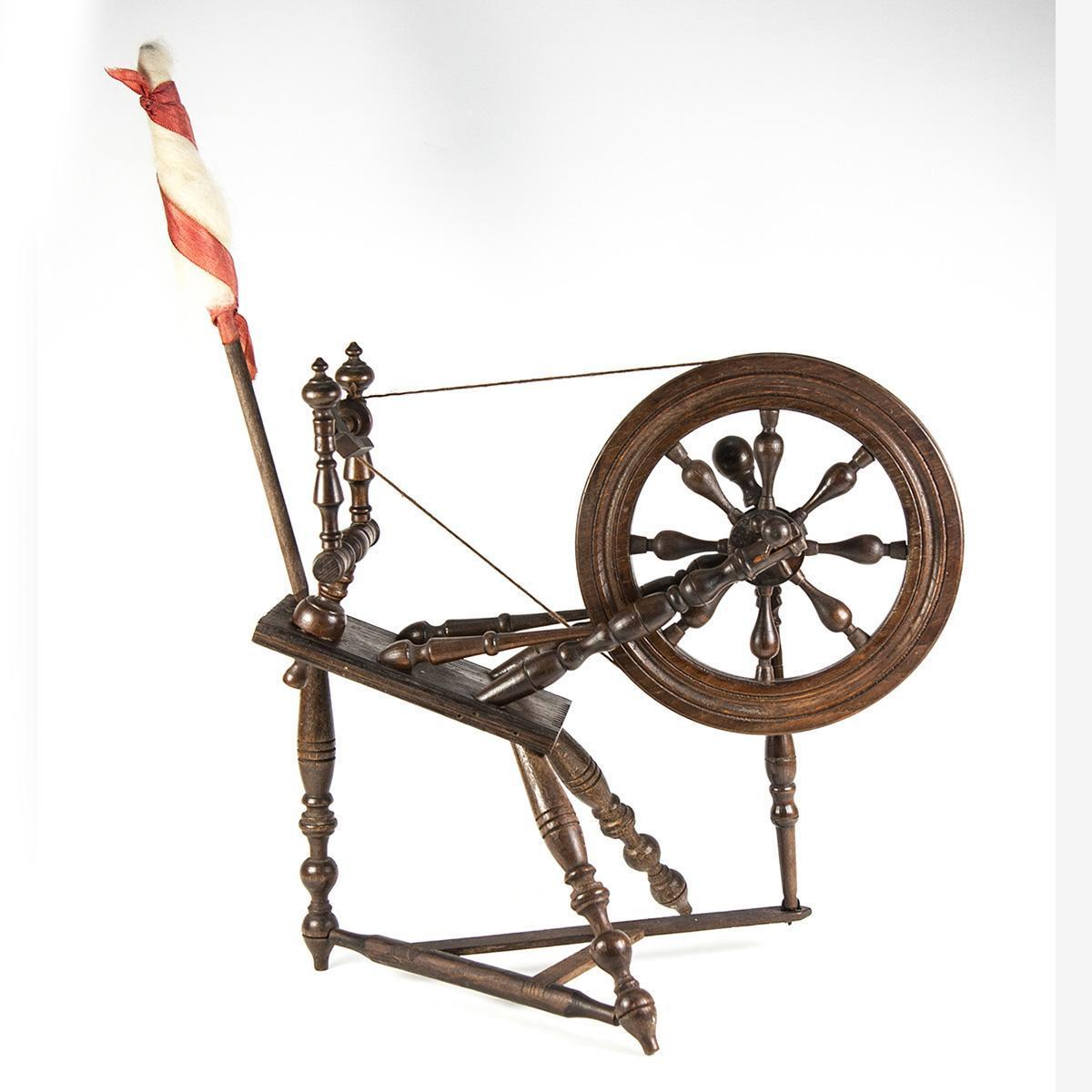 """Antique Doll House Sized Spinning Wheel, Turned Wood, For Bru or Similar Doll, 11"""" tall + Stick"""
