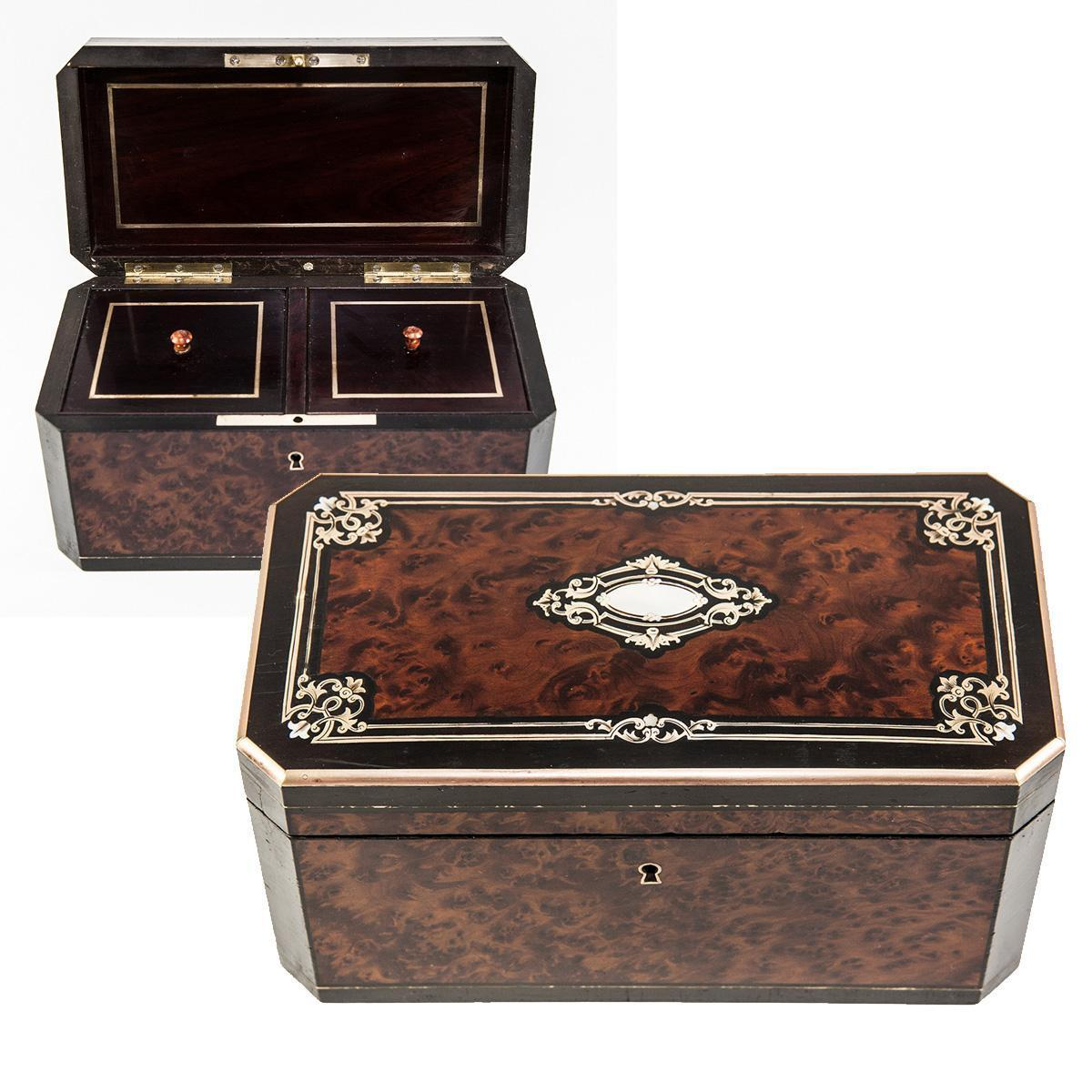 Fine Antique French Tea Caddy, Napoleon III Boulle Brass Inlays, Double Well c. 1850-70