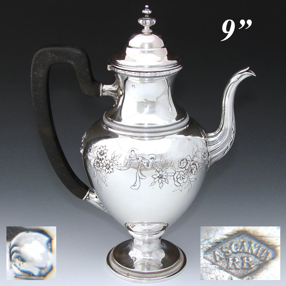 "Delightful Antique French Sterling Silver 8.75"" Coffee or Tea Pot, Bow & Ribbon, Floral Swags"