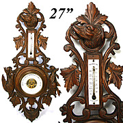 "Antique Black Forest Carved 27"" Wall Barometer, Thermometer: Hunt Theme Dog, Boar & Bird"