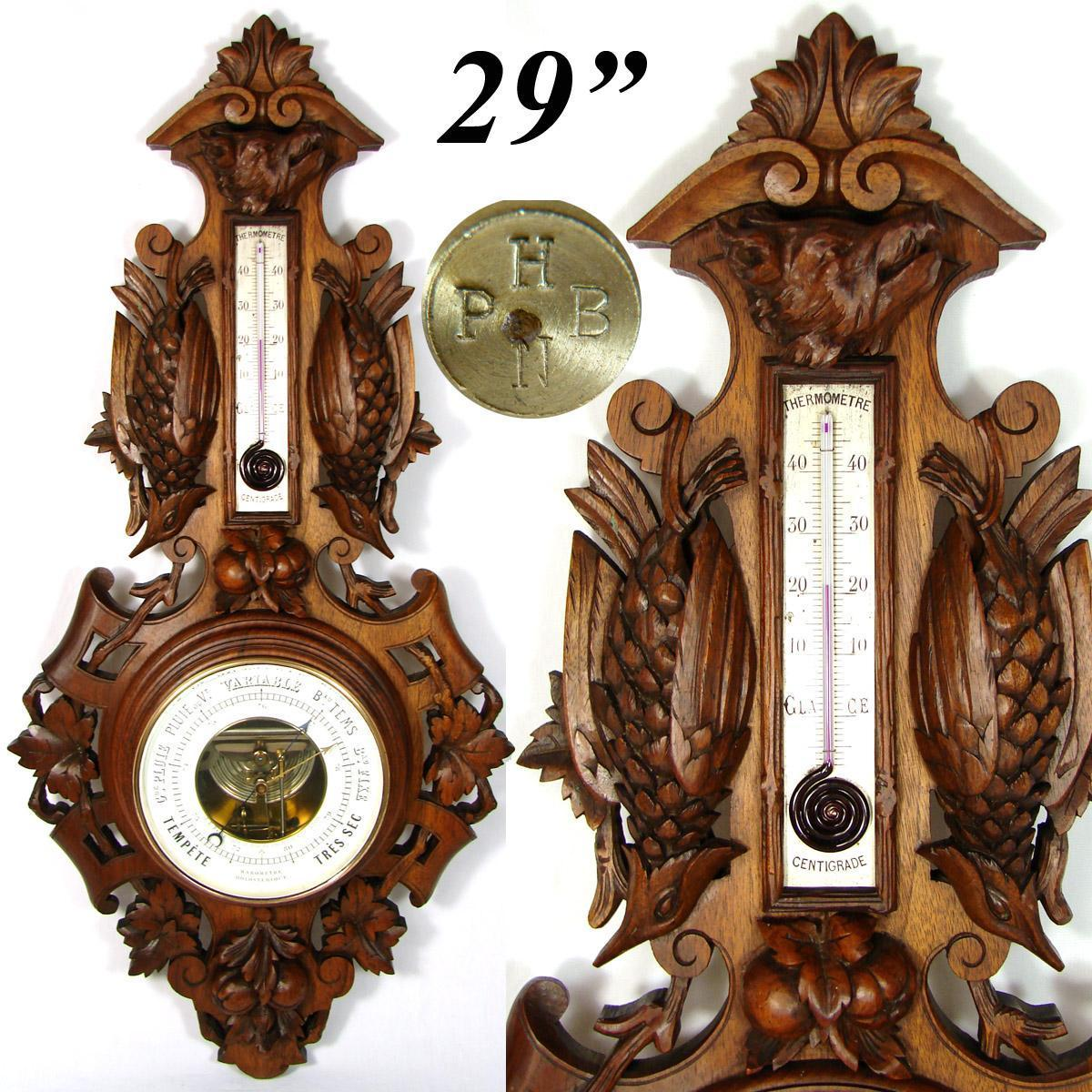 "Antique Victorian Era Black Forest Carved Walnut or Mahogany 29"" Wall Barometer, Hunt Theme"