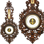 "Antique Victorian Era Black Forest Style Carved 30"" Wall Barometer, Bows & Ribbons, Ornate Floral"