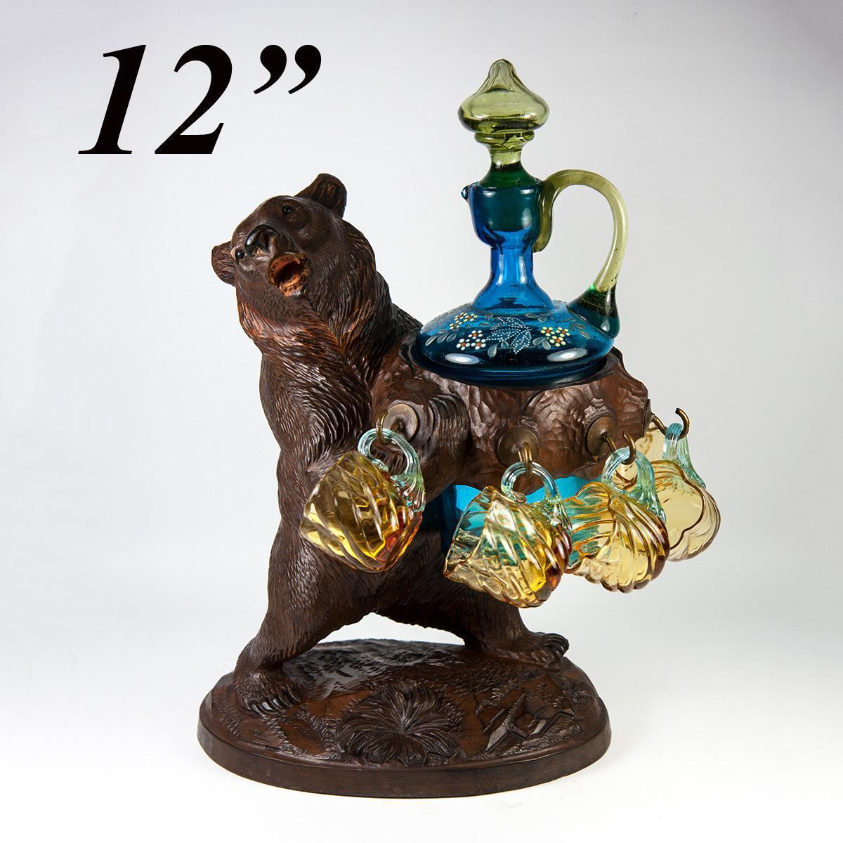 "Antique Black Forest Carved Wood Bear 12"" Tall Liqueur Service, Complete & Original"