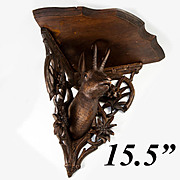 "15.5"" Wide Antique Black Forest Carved Wood Corner Shelf, BIG Chamois, Glass Eyes"