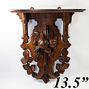 "Antique Hand Carved Black Forest 13.5"" Clock or Bracket Shelf, Fruit"