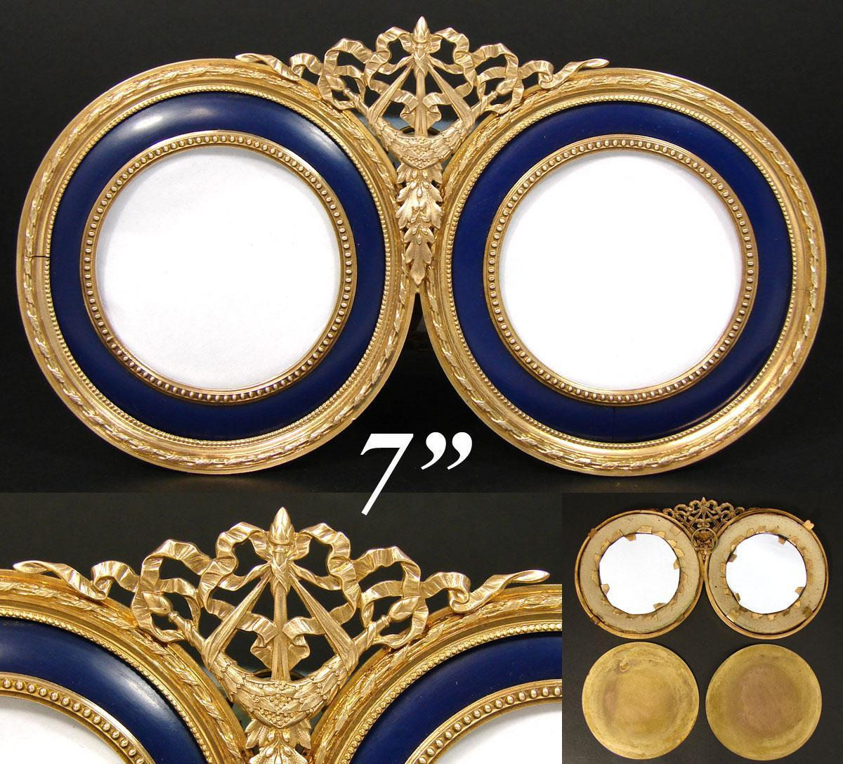 """Antique French Dore Bronze & Cobalt Blue Mat Double Picture Frame, 7"""" Wide, Napoleon III"""