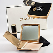 Fine Vintage Chanel Boxed Set: Lacquered Black Logo Lipstick and Powder Compact in Box