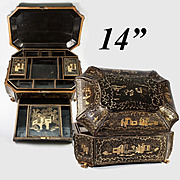 """Large 14"""" Antique Victorian Chinoiserie Sewing or Work Box, Papier Mache, Dragon Feet"""