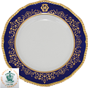 "Elegant Antique Coalport 10.25"" Dinner Plate, Cobalt & Gold Enamel Border, Monogram"