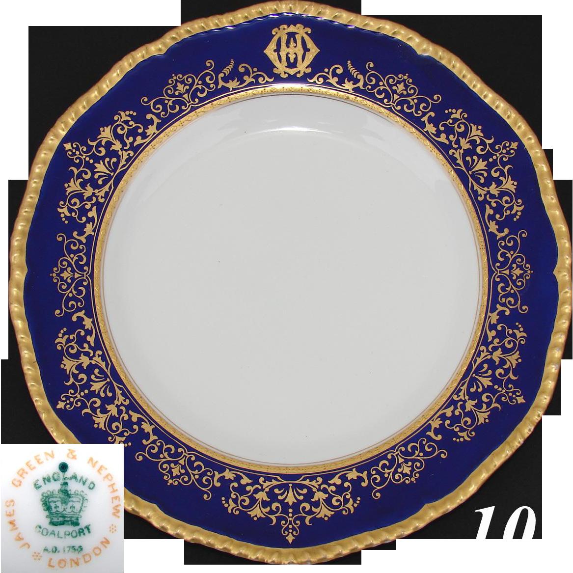 Elegant Antique Coalport 10 25 Quot Dinner Plate Cobalt