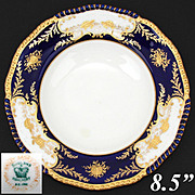 "Antique Coalport 8 3/8"" Cabinet or Fish Plate, Cobalt Blue & Raised Gold Enamel, Seashells & Sea Turtles"