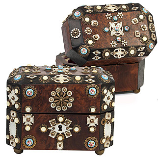 Antique French Casket, Scent or Perfume Box, Ornate with Mother of Pearl, Kiln-fired Enamel
