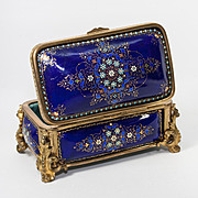 "Antique French Kiln-Fired Enamel Jewelry Box, 5.75"" Casket, Cobalt Blue with Jewel Dots Bresse or Sevres, TAHAN"
