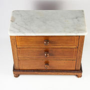 Antique French Apprentice Made Miniature Dresser, Commode, Marble Top - Great For Bru Dolls