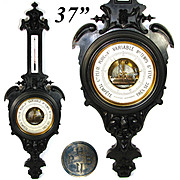 "LG Antique Victorian 37"" Wall Barometer, Thermometer, Carved & Ebonized Wood Case: Pertuis, Hulot & Cie., Paris"