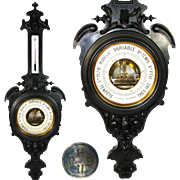 """LG Antique Victorian 37"""" Wall Barometer, Thermometer, Carved & Ebonized Wood Case: Pertuis, Hulot & Cie., Paris"""