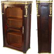 """Antique Miniature Bonnet Armoire or Bookcase, 26"""" Tall Empire Vitrine With Working Lock, Key, Applique"""