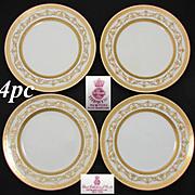 "Set of 4 Antique Minton 8.75"" Plates, Elegant Raised & Encrusted Gold Enamel, Tiffany & Co."