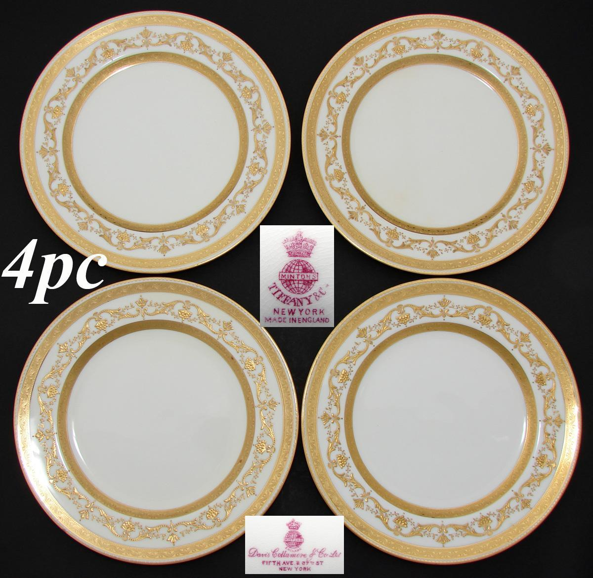 "Set of 4 Antique Minton 8.75"" Plates, Elegant Raised & Encrusted Gold Enamel, Tiffany & Co."