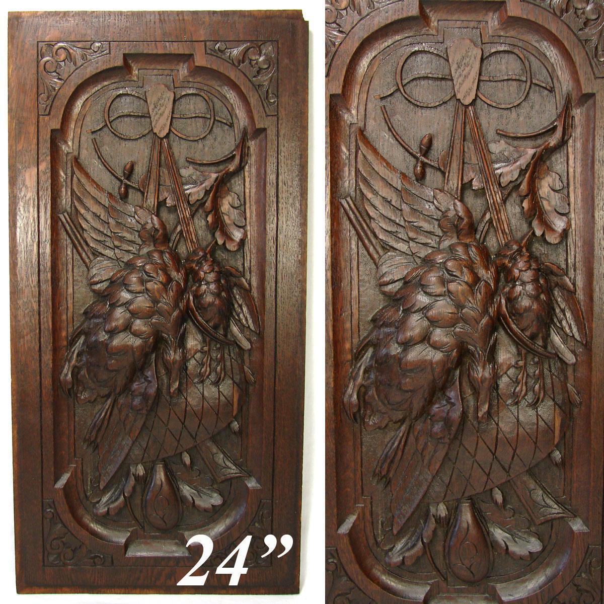 Antique Black Forest Style Carved Oak 24 Panel Hunt Theme