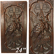 "Antique Victorian Era Black Forest Carved 24"" Door or Furniture Panel, Wall Plaque with Hunt Theme"