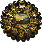 "Antique Grand Tour Era Papier Mache 9.5"" Bread Bowl, Tray: Figural Painting of Ventimiglia Italy"