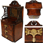 """Antique Victorian to Edwardian Era 25"""" Wall or Table Top Chest, Miniature Doll Sized Furniture"""