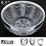 Elegant Antique 1895 London Hallmarked Sterling Silver & Cut Crystal Salad Bowl, HUGE & HEAVY