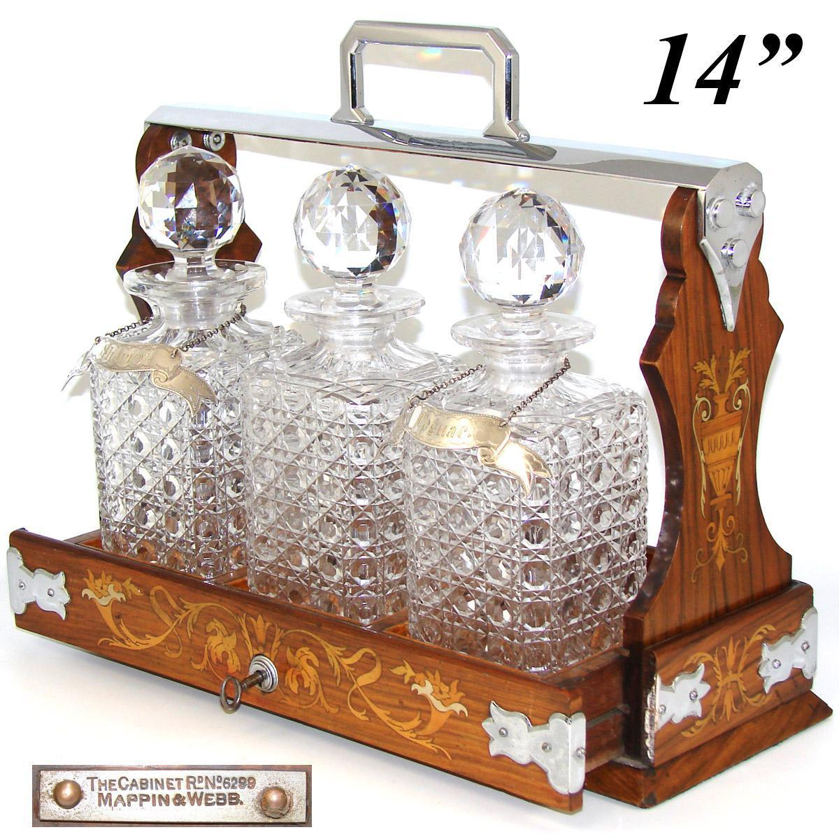 """Rare Antique Mappin & Webb """"The Cabinet"""" Liquor Tantalus, Marquetry Inlay & 3 Cut Crystal Decanters"""