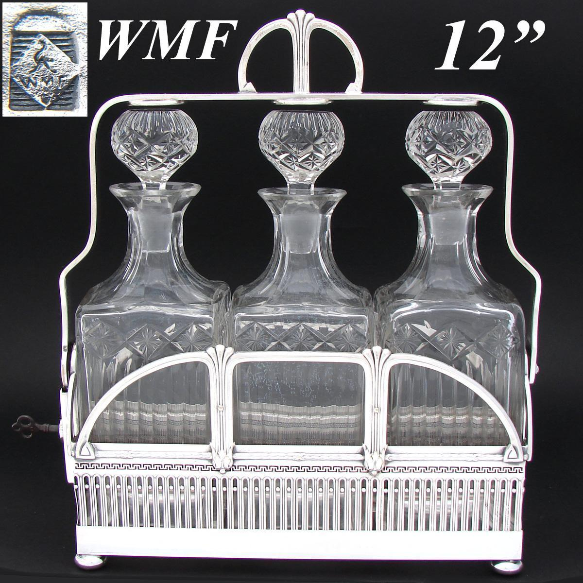 RARE Antique WMF Silver Plate Liquor Tantalus, Art Deco Influence, 3 Beautiful Original Cut Crystal Decanters