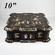 Antique Large Antique Napoleon III French Chinoise Box, Casket, Mother of Pearl, Papier Mache