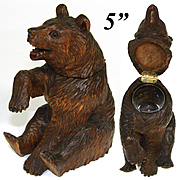 Antique Black Forest Carved Inkwell, a Delightful Seated Bear Figure w/ Glass Eyes