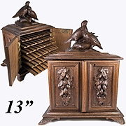"Antique Hand Carved Black Forest 13"" Cigar Chest, Box, Server, Pair of Birds on Top"
