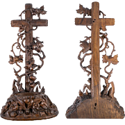 Antique Hand Carved Black Forest Crucifix and Holy Font, Grape Vines, Leaves, 11.5""