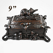 Superb Early Antique Hand Carved Black Forest Jewelry Box, Casket, Chest, c.1870s