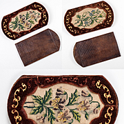 Fine Antique French Embroidered Cigar Cheroot Case, Spectacles Etui, Gold Embossed Leather