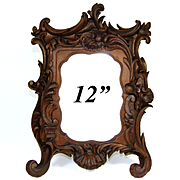 "Fine Antique Victorian Carved Wood 12"" Carte d'Visite Sized Picture Frame, Holds 4x6"""