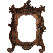 """Fine Antique Victorian Carved Wood 12"""" Carte d'Visite Sized Picture Frame, Holds 4x6"""""""
