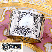 "Antique Continental Silver 2"" Napkin Ring, Ornate Raised Floral Decoration, Sans Monogram"