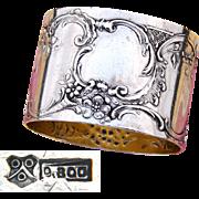 "Antique Continental Silver 2"" Napkin Ring, Ornate Raised Floral Decoration, Sans Monogram"