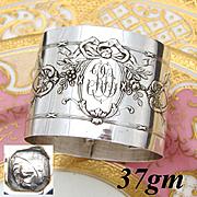 "Elegant Antique French Sterling Silver Napkin Ring, Ornate Bow & Ribbon, ""RD"" Monogram"