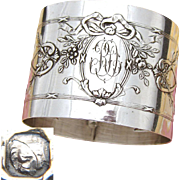 "Elegant Antique French Sterling Silver Napkin Ring, Ornate Bow & Ribbon, ""RD"" Monogram"